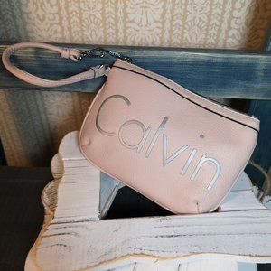 Calvin Klein pink & silver leather wristlet clutch